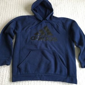 Adidas Sz L Mens Blue with Black Big Logo Hoodie